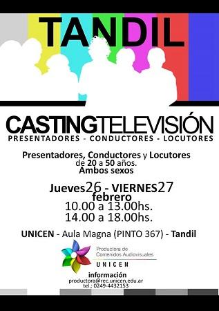 Productora Unicen har� casting para televisi�n