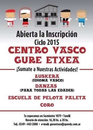 Inscripciones en el Centro Vasco Gure Etxea