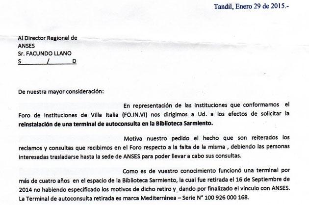 El Foro de Instituciones de Villa Italia solicit� la reinstalaci�n de una terminal de Anses en el barrio