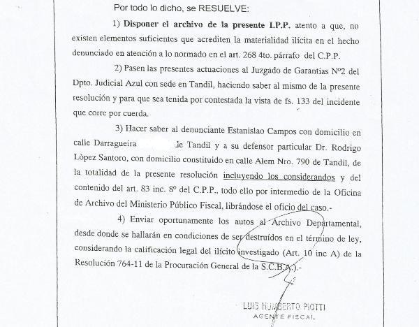 Piotti archiv� la causa por los desalojos en Villa Cordobita